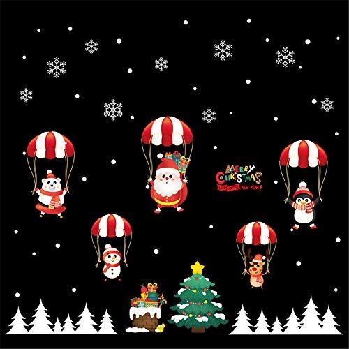 StMiYi Fensteraufkleber Kreative Wandaufkleber Weihnachtsschmuck Fensterglasaufkleber Santa Reindeer Snowflake Cartoon Aufkleber