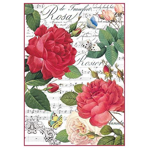 Stamperia Papel de arroz Rosas y música, 21 x 29.7 cm, Multicolor