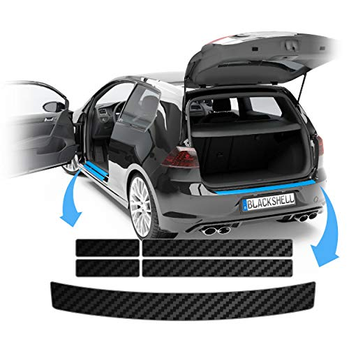 Blackshell® Lackschutz Set passend für Opel Mokka X | Typ J13 | Bj. ab 2016 Carbon Matt - passgenauer Ladekantenschutz + Einstiegsleisten Folie + Profi Rakel für Folie