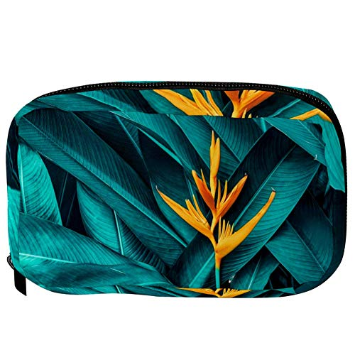 TIZORAX Cosmetic Bags Yellow Flower In Tropical Leaves Handy Toiletry Travel Bag Organizer Makeup Pouch for Women Girls