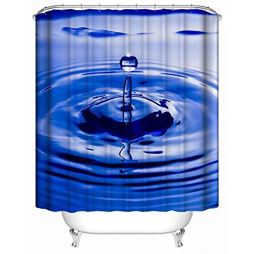 Duschvorhang, Wassertropfen-Design, Regentropfen-Design, Stoff, Badezimmer-Dekoration, Badvorhang-Set mit Haken, 152,4 x 182,9 cm, Blau