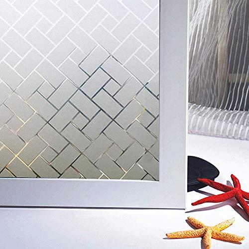 Zindoo Fensterfolie Blickdicht Geometrie Sichtschutzfolie Ohne Kleber Gute Privatsphäre Schutz für Badezimmer, Duschkabine Sowie Türen, Umkleide und Konferenzräume 60 x 200CM