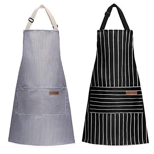 LADES DIRERCT Schürze Kochschürze - 2 Stücke Verstellbare Küchenschürze mit 2 Taschen Grillschürze Chef Schürze für Damen Männer Küche Restaurant Café (Schwarz + Grau)