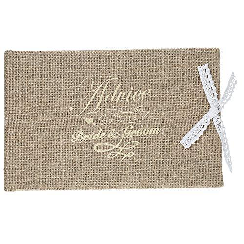 Livro de convidados do casamento com capa de serapilheira de 72 páginas vintage estilo rústico capa dura dupla face livro de convidados do casamento