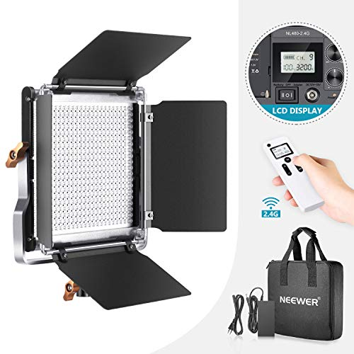 Neewer Fortgeschrittene 2,4G 480 LED Videoleuchte dimmbares zweifarbiges LED Panel mit LCD Bildschirm und drahtloser 2,4G Fernbedienung für Produktfotografie Studio Videoaufnahme