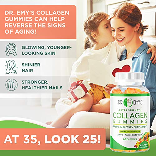 51XQjdfsLfL - Collagen Gummies by Dr Emy's. Gummy Vitamin for Women & Men, hair, skin, nails, joint supplement. Anti-aging collagen gummy supplements. Strengthen hair, skin and nails. Gelatin-Free. 2 pk 60 ct each.