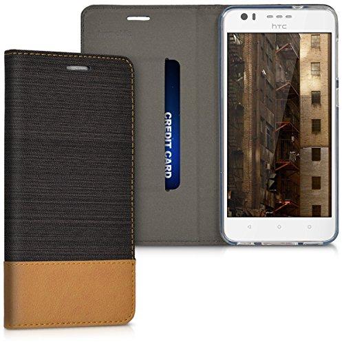 kwmobile Hülle kompatibel mit HTC Desire 10 Lifestyle - Stoff Handy Schutzhülle - Flip Cover Hülle Anthrazit Braun