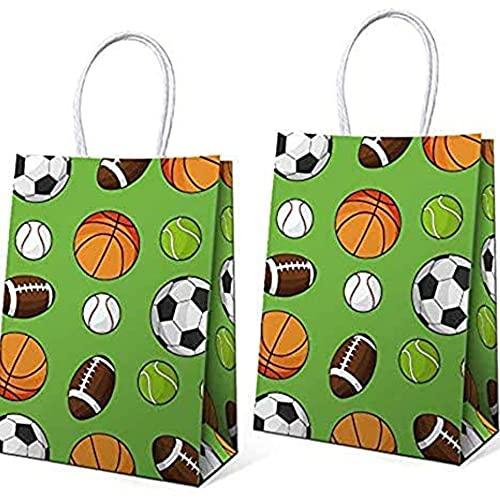 16 bolsas de regalo de cumpleaños para niños, incluyendo fútbol, béisbol, baloncesto, fútbol, deportes, diseño temático, decoración de fiesta de cumpleaños, 15 x 8 cm x 21 cm