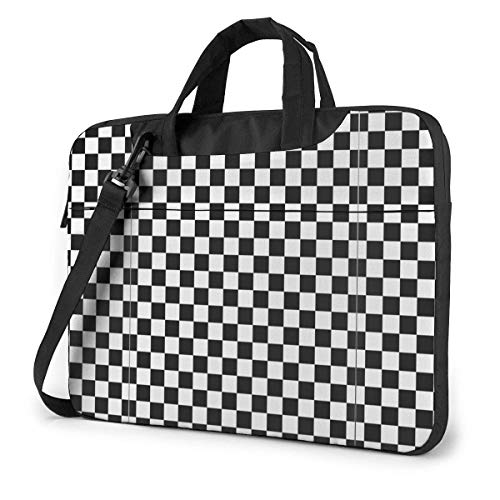 Checkerboard Black and White Pattern Laptop Bag One Shoulder Shockproof Laptop Bag