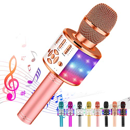 Ankuka Karaoke Wireless Microphone Bluetooth for Kids, Portable 4 in 1 Karaoke Machine Speaker with LED Lights, Christmas Home, Birthday Party Toys Gifts for Girls, Boys and Adults (Rose Gold)