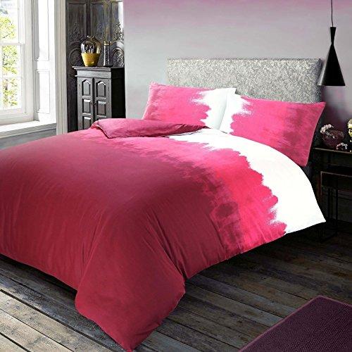 Nimsay Home - Set di biancheria da letto in policotone, motivo sfumato, con motivo continentale, colore: rosso romba, super king
