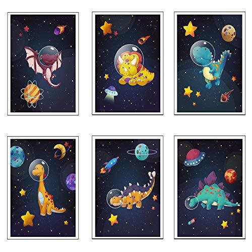 MWOOT 6er Set Bilder Kinderzimmer Deko, Babyzimmer Poster, 20x25CM Bilderwand Leinwand Wandbilder, Junge Mädchen Spielzimmer Wanddeko Druckbilder ohne Rahmen - Dinosaurier im Weltraum