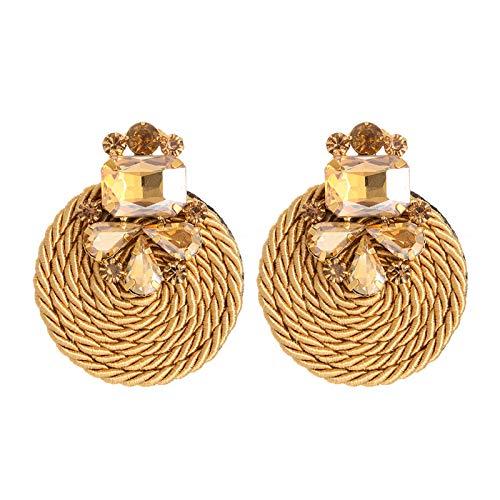 XPT Pendientes de mujer exquisitos y elegantes hechos a mano exagerados redondos con diamantes de imitación para niñas marrón
