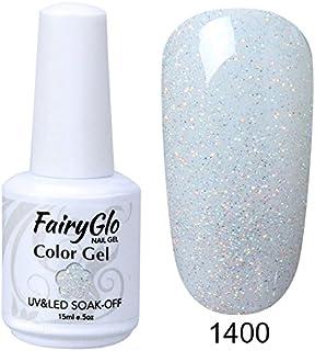 FairyGlo Gelpolish Long-lasting Gel Nail Polish Soak Off UV LED Nail Art Eco-friendly Manicure Lacquer 15ml Glitter White ...