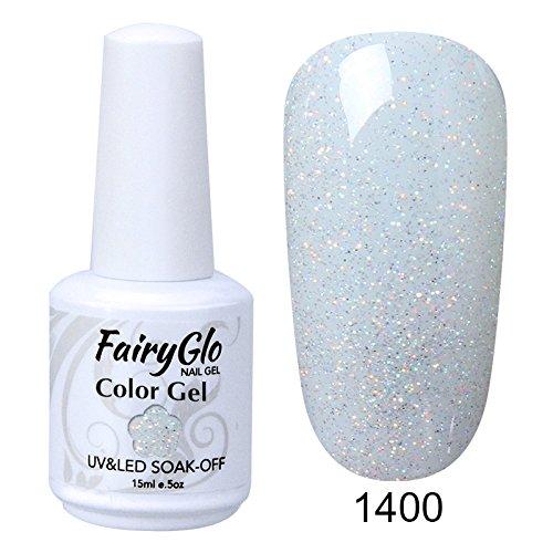 FairyGlo Gelpolish Long-lasting Gel Nail Polish Soak Off UV LED Nail Art Eco-friendly Manicure Lacquer 15ml Glitter White 1400