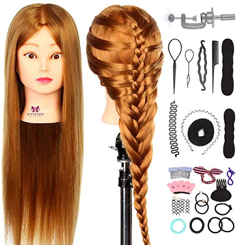 """Neverland Beauty Cabeza Maniquí Peluqueria 24"""" 30% Pelo Natural Humano Practicas Formación Muñeca de la Cosmetología (con soporte) + DIY Hair Styling Braid Set"""