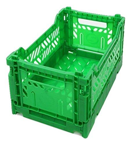 AYKASA Collapsible Storage Bin Container Basket Tote Folding Basket Crate Container  Storage Kitchen Houseware Utility Basket Tote Crate Mini-Box Green