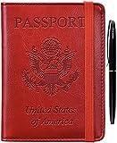 HERRIAT Passport Holder Cover Case RFID Blocking Travel Wallet Card Case for Women Man(Red)
