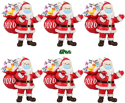 6 Pcs 2020 Santa Wearing A Face Mask and Carrying a Gift Bag Claus Ornaments, Christmas Ornaments, Christmas Tree Decoration Pendant,Winter Table Centerpiece, Christmas Figurine Keepsake for Family