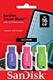 SanDisk Cruzer Blade- Memoria USB 2.0, Pack 3 Unidades de Colores, 16GB