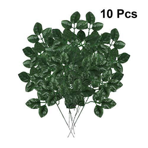 Garneck 10 stücke rosenblätter Kunststoff künstliche grüne rosenblatt Zweig DIY Dekoration Requisiten gefälschte Pflanzen Ornament für Hochzeit zu Hause