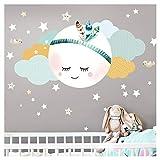 Little Deco DL262 - Adhesivo decorativo para pared de habitación infantil, diseño de luna, nubes y estrellas, L - 59 x 31 cm (ancho x alto), diseño de plumas