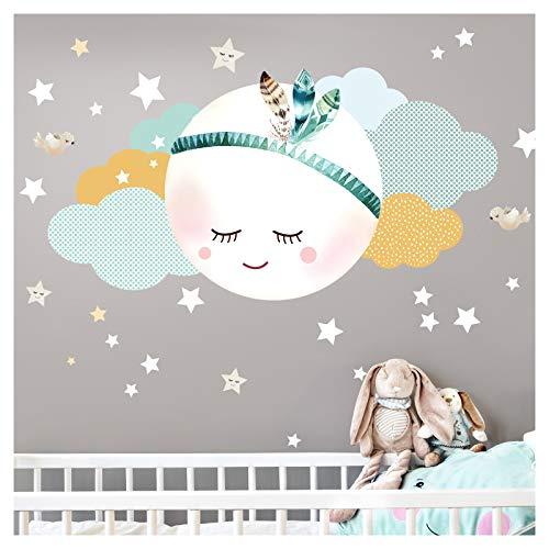 Little Deco Wandsticker Kinderzimmer Mädchen Mond Wolken Sterne I L - 59 x 31 cm (BxH) I Federn Wandtattoo Babyzimmer selbstklebend Wandaufkleber Baby Kinder DL262