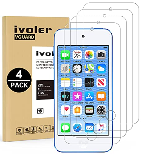 [4 Pack] iVoler [Tempered Glass] Screen Protector Compatible iPod Touch 7G 2019 6G 5G (7th 6th 5th Generation), 0.2mm Ultra Thin 9H Hardness 2.5D Round Edge,Anti Scratch and Bubble-Free
