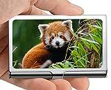 Estuche para tarjetas de visita, juego Estuche para tarjetas de visita con soporte para tarjetas de visita Little panda (acero inoxidable)
