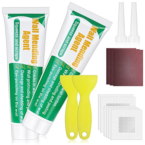 Drywall Repair Kit, Ranekie Drywall Hole Patch Kit Spackle Puddy Wall Repair Large Hole Patch Kit, Wall Mending Agent with Scraper Easy to Fill The Holes for Home Wall, Plaster Dent Repair - 2 Pcs