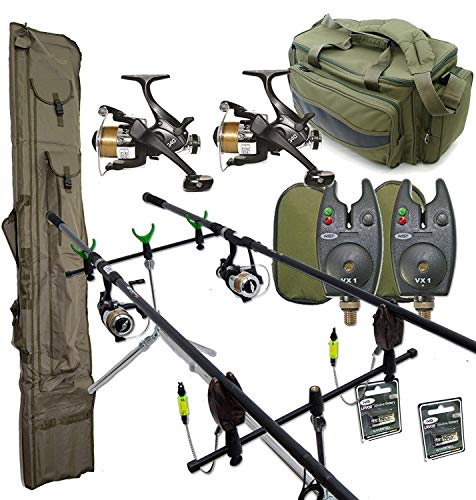 Complete Carp Fishing Outfit Setup 2xrods reels alarms & Luggage Set