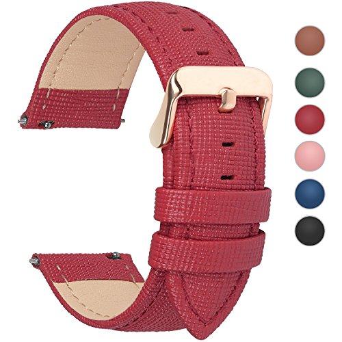 Fullmosa 14mm,16mm,18mm, 20mm, 22mm, 24mm Bracelet de Montre en Cuir véritable, Cross Montre Bracelet Homme/Femme à Dégagement Rapide,18mm Rouge