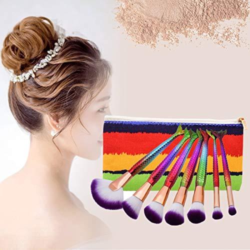 Tuzi Qiuge Griff Make-up Pinsel-Nixe-Art Griff Make-up-Bürsten-Kosmetik-Stiftung Creme Puder erröten Verfassungs-Werkzeug mit tragbaren Beutel-Satz (Color : Color1)