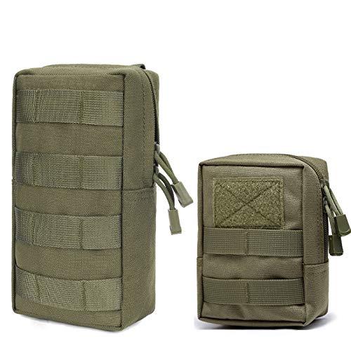 Azarxis Taktische Hüfttasche Molle Tasche Kompakt und leicht Multifunktional Bauchtasche für Camping Reisen Wandern 2 Stück (Armeegrün)