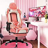 Gaming Chair with Footrest Computer Chair Racing Chair High Back Ergonomic Adjustable Executive Swivel PC Chair with Headrest and Massage Lumbar Support(Pink.