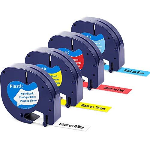 Aken kompatibel Etikettenband als Ersatz für Dymo Letratag Etikettenband Kunststoff 12mm x 4m, Schwarz auf weiß, gelb, rot, blau Plastic Farbband für Dymo LetraTag XR LT-100H LT-100T LT-110T QX50,4X