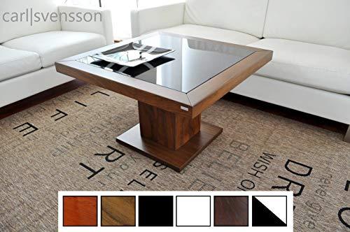 Design Couchtisch Tisch S-360 Nussbaum/Walnuss getöntes Glas Carl Svensson
