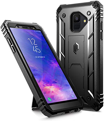 Poetic Galaxy A6 Kickstand Rugged Case, Revolution Full-Body Rugged Heavy Duty Case with [Built-in-Screen Protector] for Samsung Galaxy A6 (2018)(Do not fit Galaxy A6 Plus) - Black