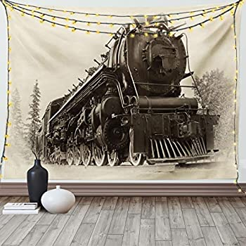 Ambesonne Steam Engine Tapestry Antique Northern Express Train Canada Railways Photo Freight Machine Print Wide Wall Hanging for Bedroom Living Room Dorm 60  X 40  Black Grey
