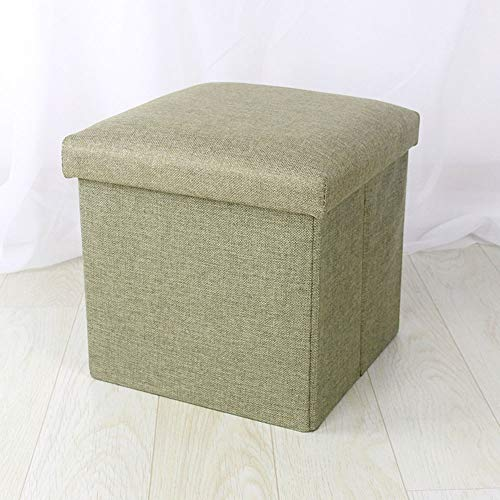 FLYFASH Foot Rest Stool Seat, Fabric Storage Stool, Storage Stool Can Sit Adult Folding Storage Box Sofa Change Shoe Bench (Color : Green)