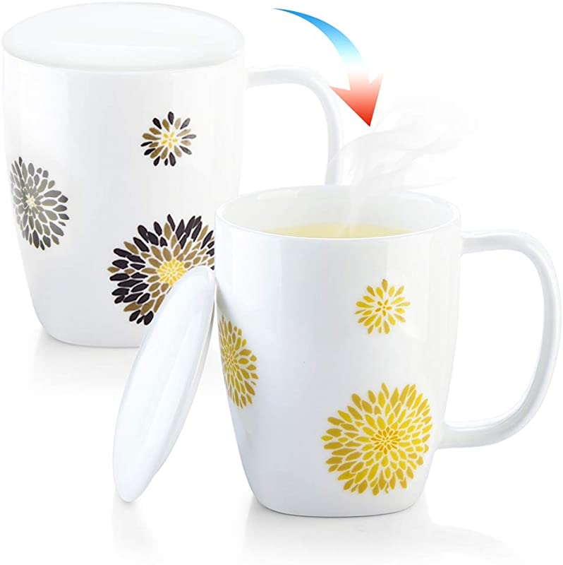 ZENS Heat Sensitive Mug Funny Color Changing Coffee Mug With Lid 10 Ounce Pure White Porcelain Floral Tea Cup For Women Mom Latte
