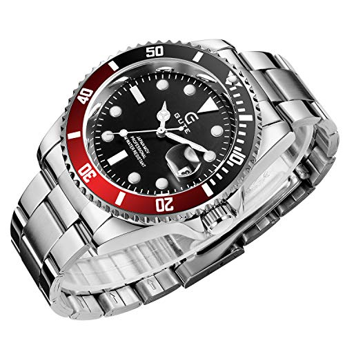 Mens Watches Waterproof Wrist Watch Stainless Steel Analogue Quartz Watch Men Business Casual Unisex Adults Watch for Men(Black Red)