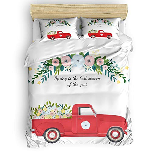 King 4 Pcs Duvet Comforter Cover Set for Kids Adults Bedding Sets,Spring is the best season of the year Red Car Pattern Bed Sheet Set for Christmas,1 Duvet Cover 1 Flat Sheet and 2 Pillow Cases