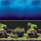 Vepotek Aquarium Background Double sides (Deep Sea/Water Plants) (72' W X 24' H)