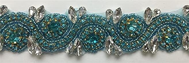 ModaTrims Hot-Fix or Sew-On Beaded Crystal Rhinestone Trim by Yard for Bridal Belt Wedding Sash (Turquoise Crystal Rhinestones, Large Crystals, Turquoise Beads, Gold Cups, 1 Yard x 1.5 Inch Wide)