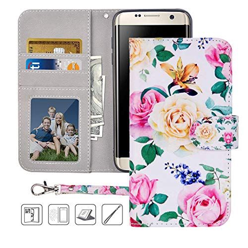 Galaxy S7 Edge Wallet Case,Galaxy S7 Edge Case,MagicSky Premium PU Leather Flip Folio Case Cover with Wrist Strap,Card Slots,Cash Pocket,Kickstand for Samsung Galaxy S7 Edge (Flower)
