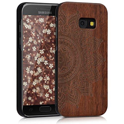 kwmobile Samsung Galaxy A3 (2017) Hülle - Handy Schutzhülle aus Holz - Cover Case Handyhülle für Samsung Galaxy A3 (2017) - Aufgehende Sonne Design Dunkelbraun