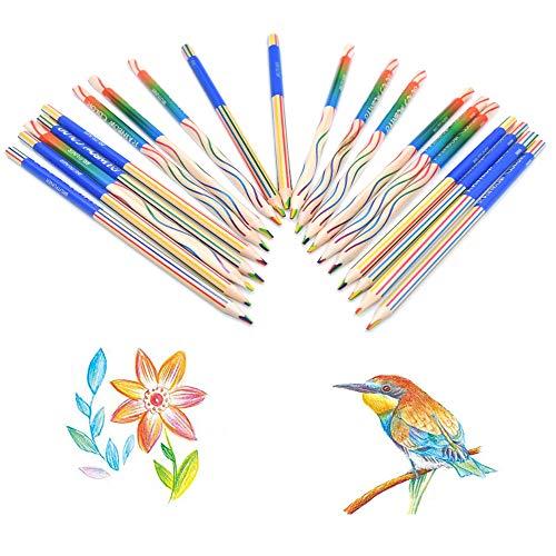 Integrity.1 Regenbogen Buntstifte, 20 Stück 4 in 1 Regenbogen Zeichnung Bleistift Set für Erwachsene Künstler und Kinder Färben und Zeichnen, DIY Graffiti