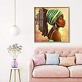 ganlanshu Cuadro En Lienzo Niña Africana para Sala de Estar Cuadros Decorativos y Carteles Arte de pared70x70cmPintura sin Marco