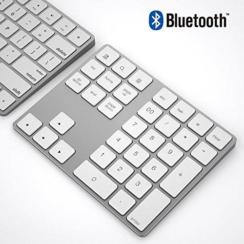 IKOS Bluetooth Ziffernblock, Kabellose Schnurlose Nummernblock, Wireless Keypad Numpad mit 34 Tasten für PC, Laptop, MacBook, Tablet,Windows/MacOS/Android(White)